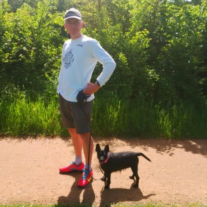 GBR 2015 Andy M with Marge the dog at Boveney on Saturday, waiting for Chris and Steve